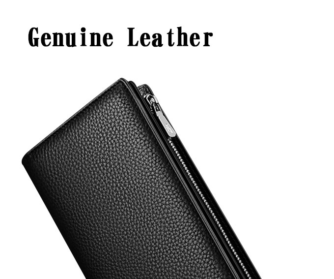 High quality travel card holder long leather wallet men