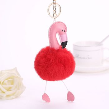 New Design Custom Fur ball Key chain, Metal Key Chains Bag Charms Custom Flamingo Keychain