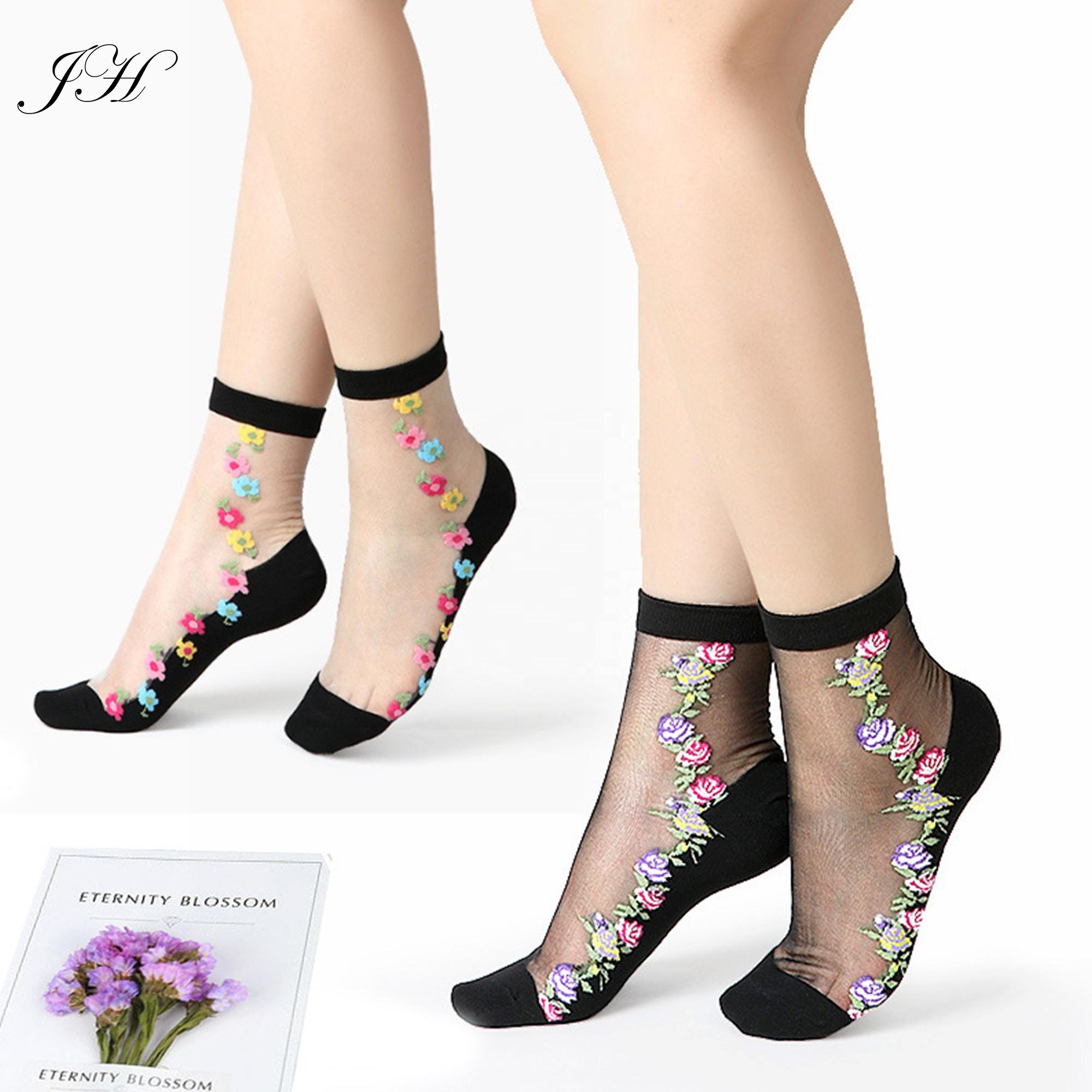 2019 yeni kadın çiçek jakarlı ayak bileği çorap şeffaf kaygan pamuk alt dantel ince kristal ipek rahat çorap