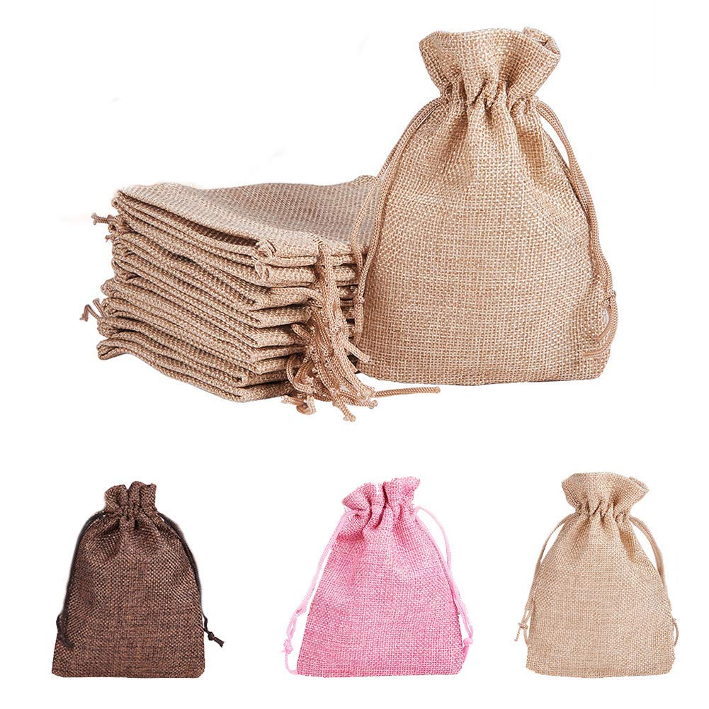 """Burlap Bags with Drawstring Reusable and Multipurpose for Jewelry Pouch Wedding Birthday Parties Favor DIY Craft Gift Candy Bags for Herbs Tea Spice Bean Sachets Christmas 3.7""""X5.3"""" 20pcs (Khaki)"""