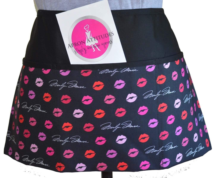 Marilyn Monroe Kissing Lips Print 3 Pocket Waist Apron Waitress Aprons, Restaurant Aprons, Half Aprons, Bistro Aprons,Waiter Aprons,Half Aprons