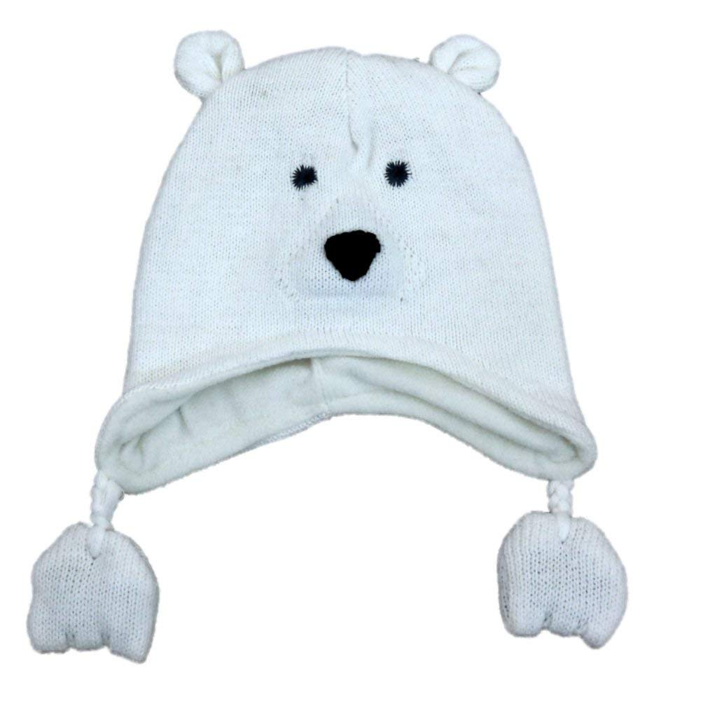 2d7451832af85b Cable Knit 100% Wool Cap with Earflaps with Polar Fleece Lining. Get  Quotations · CP Infant Boys & Girls White Knit Polar Bear Peruvian Trapper  Hat 6-12 ...