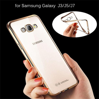 premium selection 05bf8 010eb Ultra Thin Gold Plating Crystal Clear Transparent Soft Tpu Back Cover Case  For Samsung Galaxy J2/j3/j5/j7 - Buy Back Cover Case For Samsung Galaxy ...