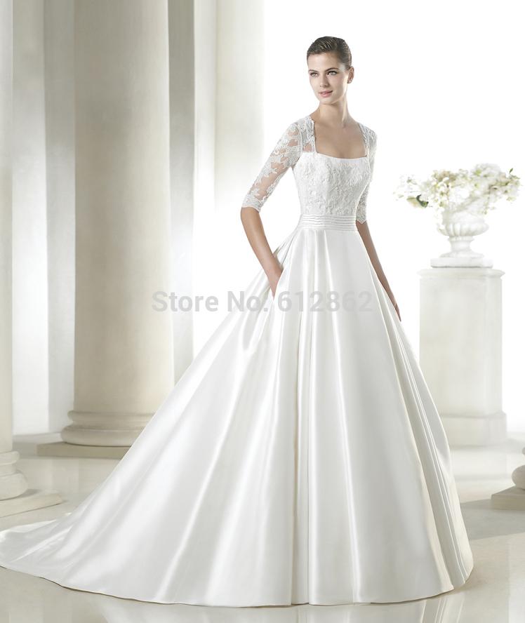 Elegant Silk Wedding Dresses With Sleeves: Elegant Satin Beads Long Train Pocket Wedding Dress With