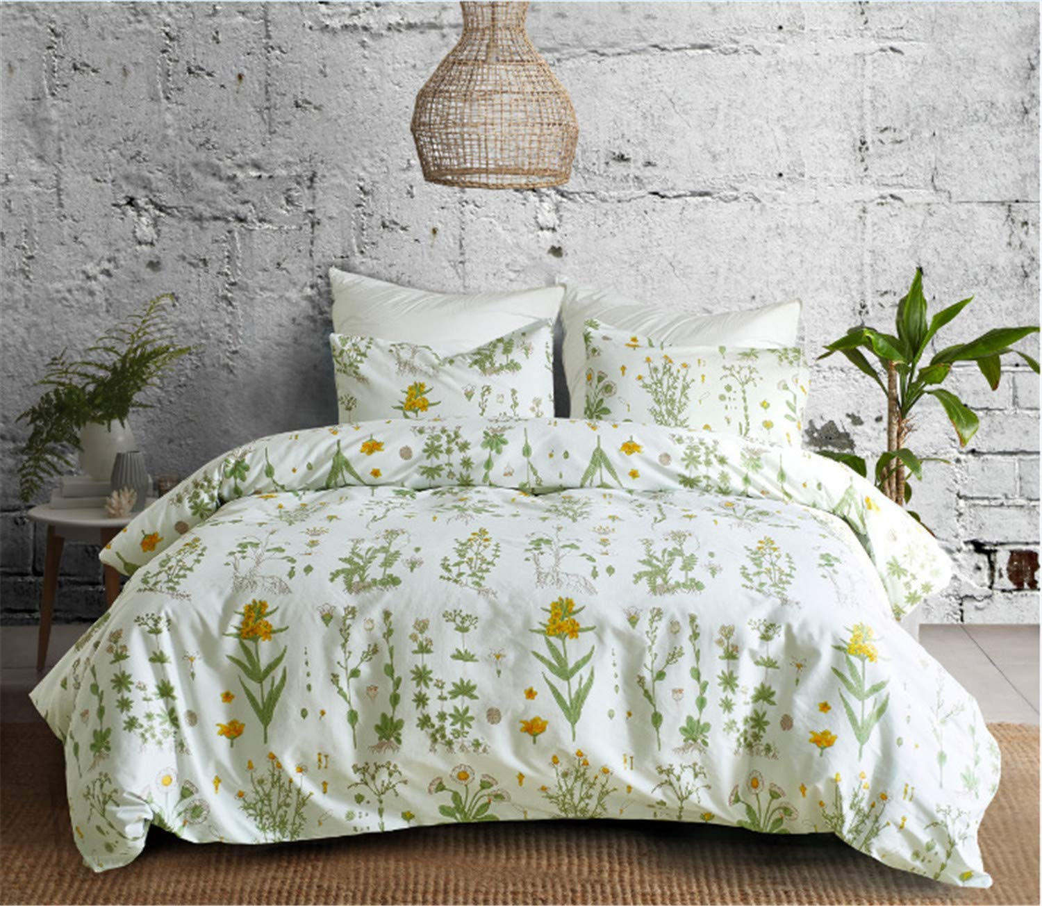 "YULUOSHA Girl's Yellow Flower Duvet Cover Set Queen 90""x90"",Natural Floral Leaves Printed Pattern Lightweight Microfiber Modern Bedding 3 Pieces with Zipper,1 Duvet Cover 2 Pillowcases"