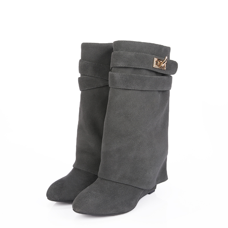 ae86d7d005d Get Quotations · New Arrival Black Suede Mid-Calf Boots Autumn Winter Round  Toe Wedges Women Shoes Casual