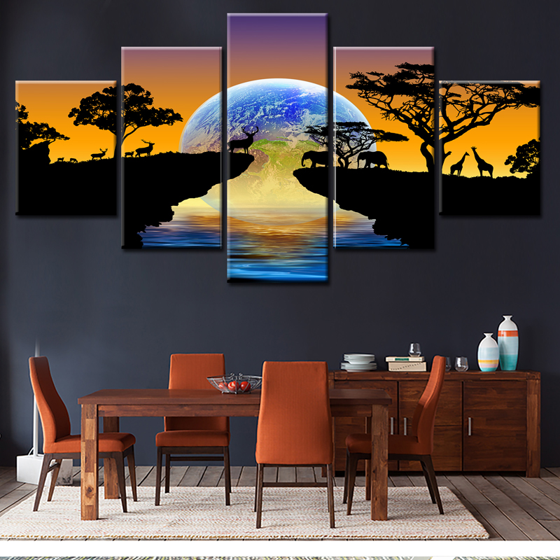 HD Printed 5 panel canvas art Planet Earth Picture wall pictures for living room Medorn home decor Posters and prints