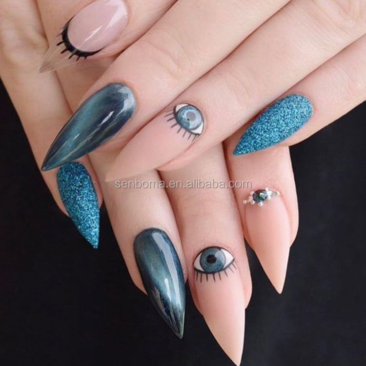 Senboma Special Cat Eye Nails Designs False Nails Natural Stiletto ...