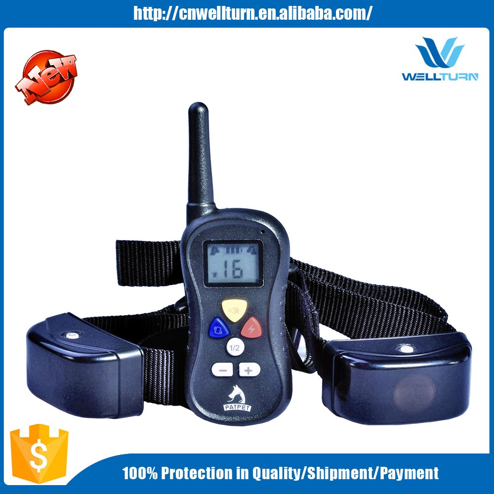 WELLTURN OEM Supported 330 Yard Blue Back Light 600ms Vibrating Tone Remote Dog Training Collar
