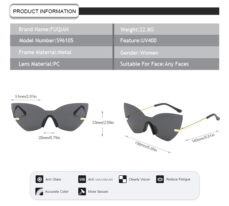 Fashion Butterfly One Piece Lens Rimless Women Brand Designer Eyewear