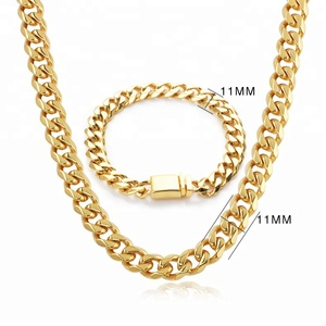OUMI China Jewelry Wholesale Stainless Steel 18K Gold Plated Cuban Link Chain Jewelry Set