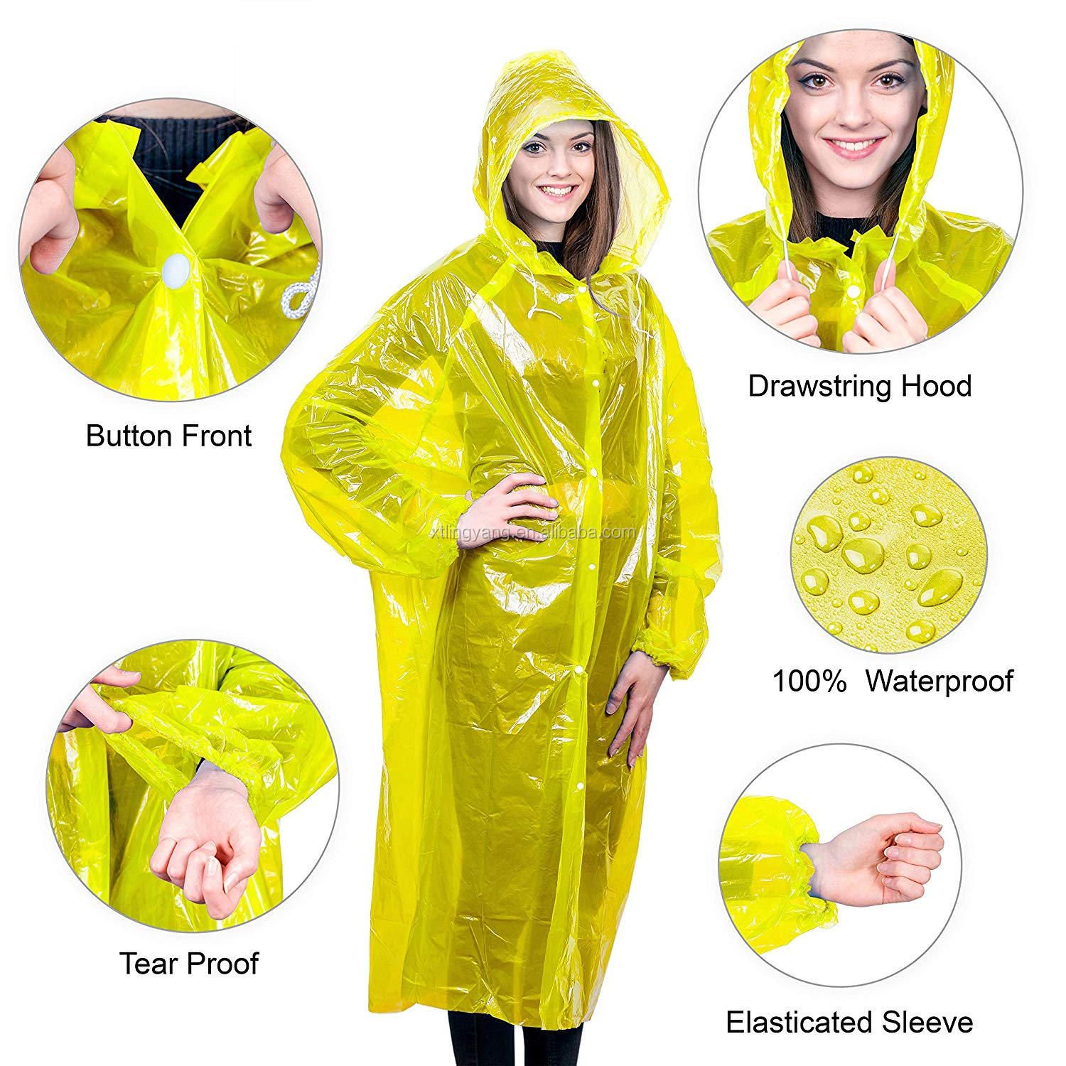 disposable PE rain coat with hat