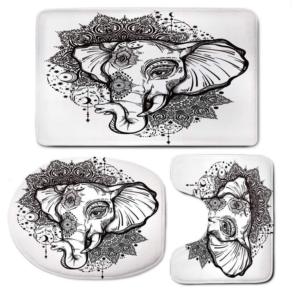 3 Piece Bath Mat Rug Set,Elephant-Mandala,Bathroom Non-Slip Floor Mat,Grunge-Modern-Design-Animal-Head-Seven-Royal-Symbols-Guardian-Image,Pedestal Rug + Lid Toilet Cover + Bath Mat,Black-and-White