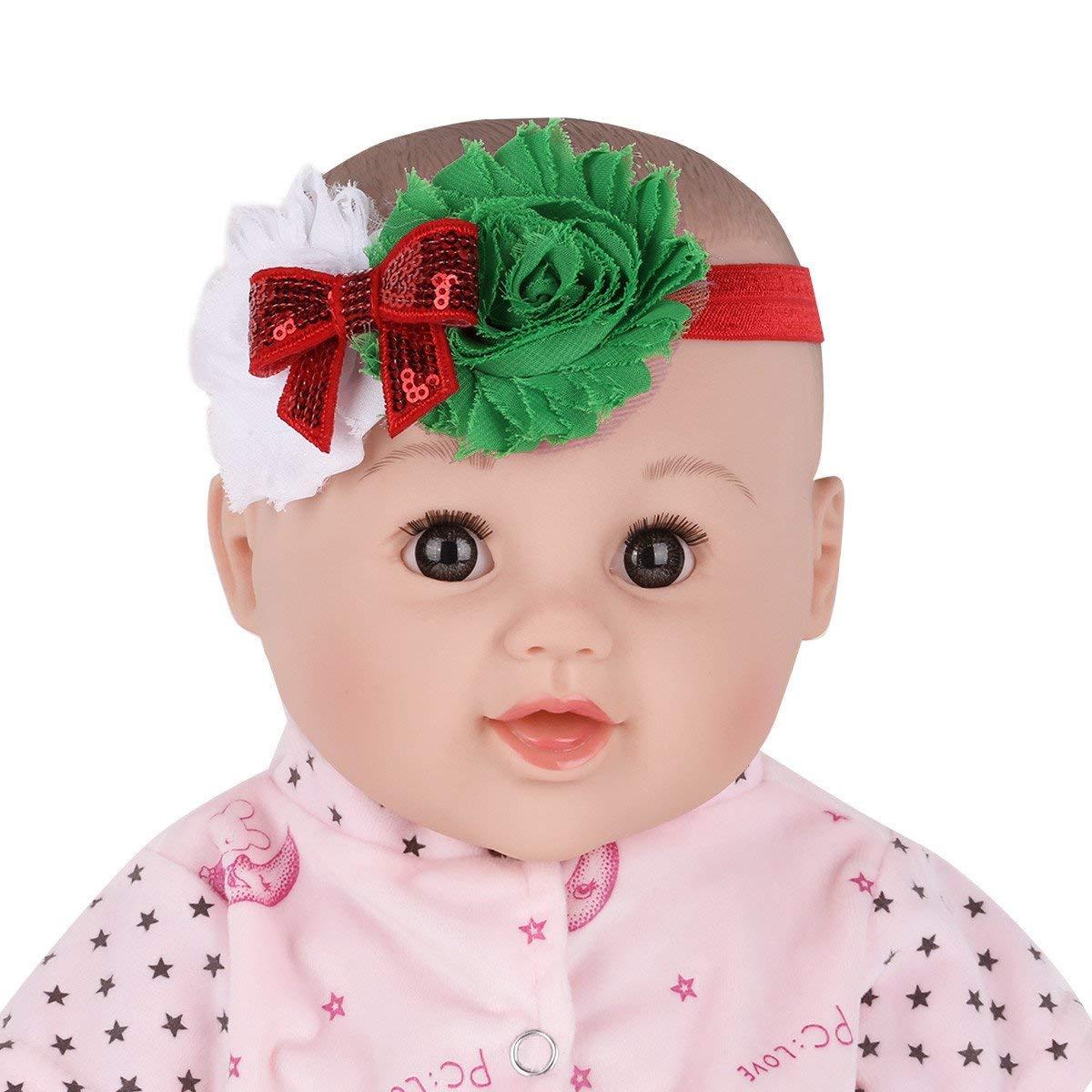 Freebily Set of 3 Infant Baby Girls Christmas Flower Shiny Bowknot Headbands Hair Bands