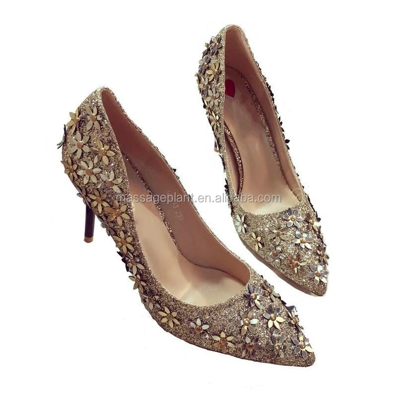 Wedding Bridal Shoes Gold High Heels Glitter Bridesmaid Friend Gift Pumps