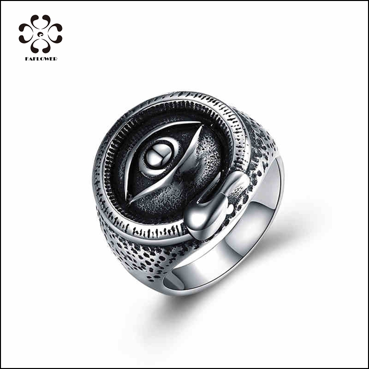 Trendy Stainless Steel Men's Evil Eye Black Finger Ring Wholesale