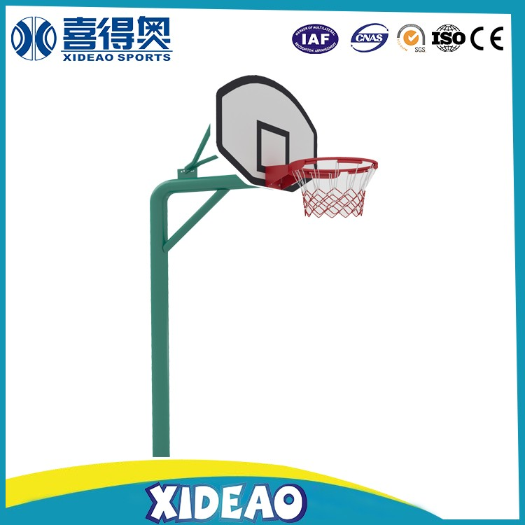 outdoor team works basketball stands with SMC backboards