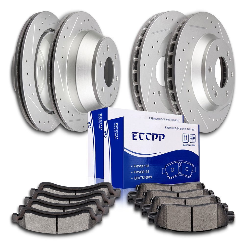 Get Quotations · Brake Rotors Pads Kits,ECCPP 4pcs Slotted Drilled Brake  Rotors and 8pcs Ceramic Disc Brake