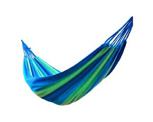 Shopready Portable Colorful Striped Durable Travel Camping Recreation Indoor Outdoor Garden Beach Tying High-density Heavy Duty Thick Canvas Folding Swing Bed Hammock - Blue Grid