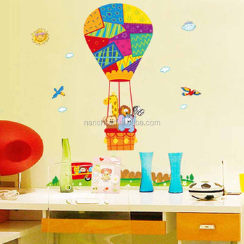 Big Colorful Hot Air Balloon With Animals Wall Stickers Children ...