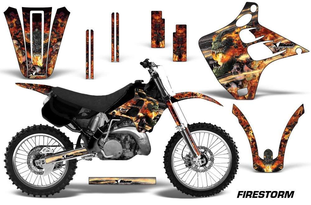 Kawasaki KX125 KX250 1990-1991 MX Dirt Bike Graphic Kit Sticker Decals KX 125 250 FIRESTORM BLACK