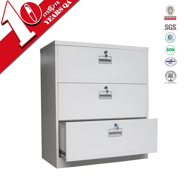 metal long wide 3 drawer pedestal file cabinet / low lockable 3 lockable metal filing cabinet