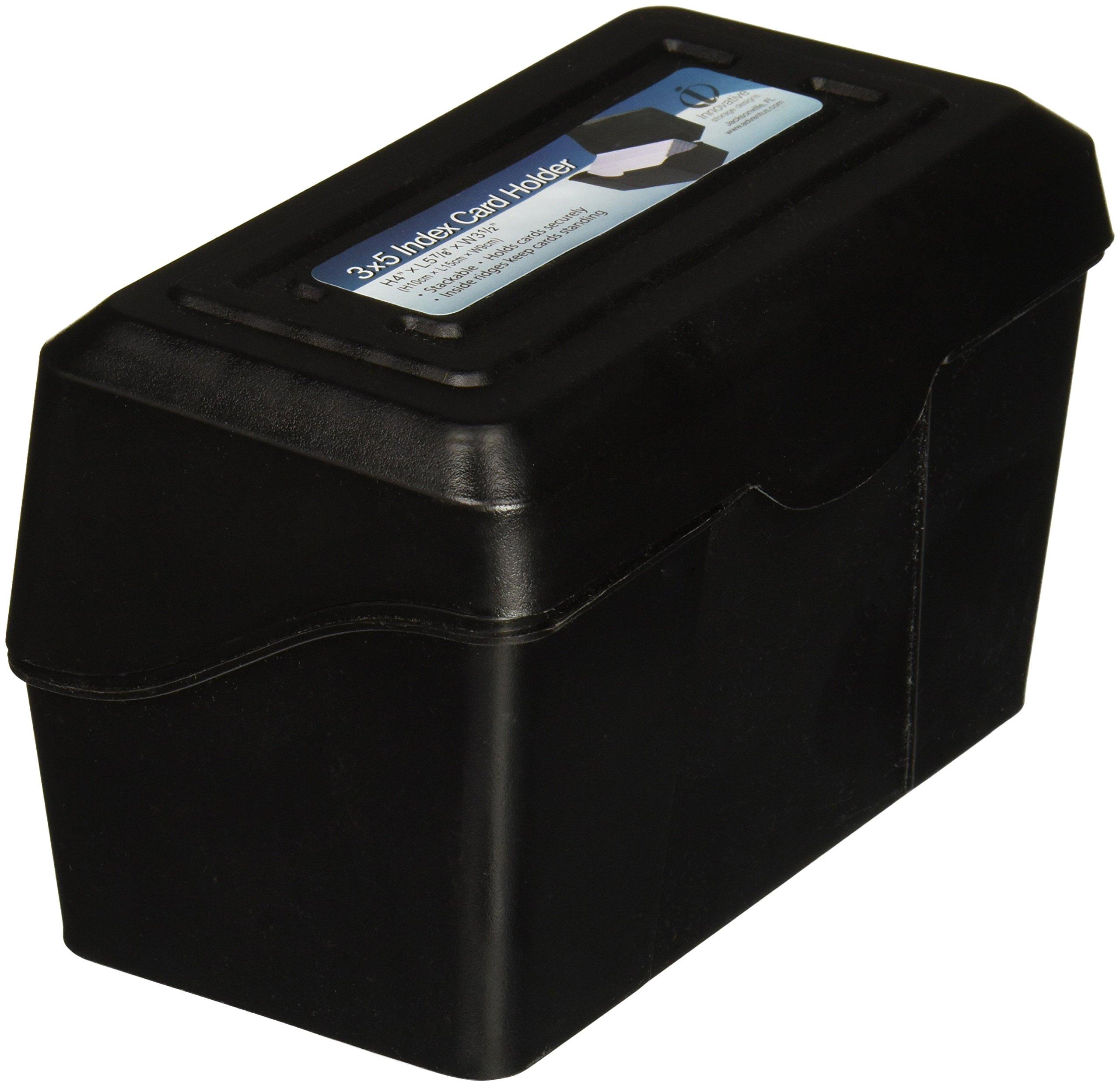 "Advantus 45001 Index Card Box, Plastic, 3"" x 5"" Size, 3.73"" Height, 3.5"" Width, 6.3"" Length, Black"