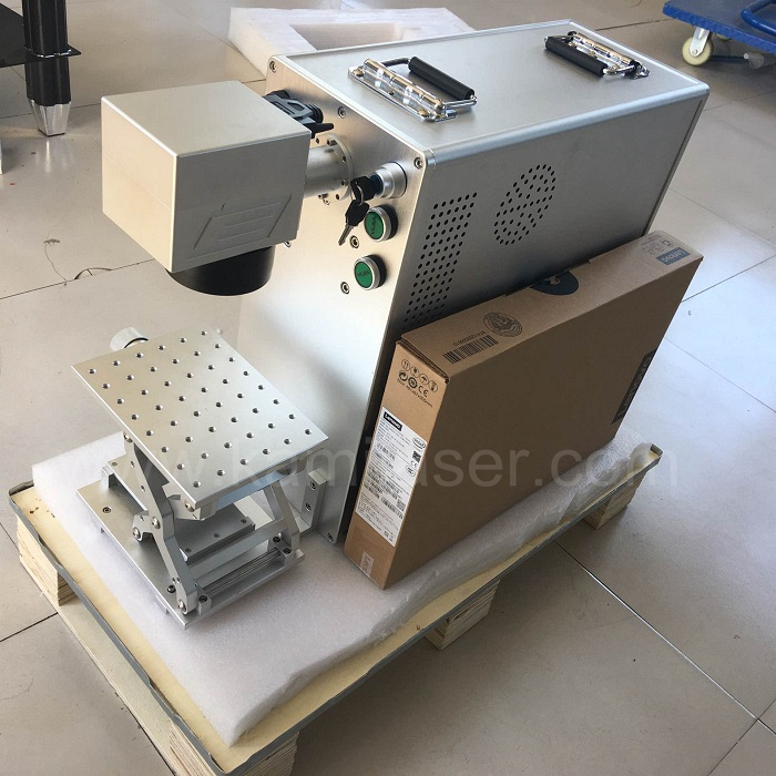 Jinan Raycus rotary quality fiber laser 20w metal dog tag Fiber laser marker with large working table