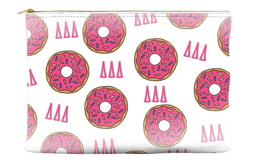 Delta Delta Delta (Tri Delta) Donut Pattern White Cosmetic Accessory Pouch Bag for Makeup Jewelry & other Essentials
