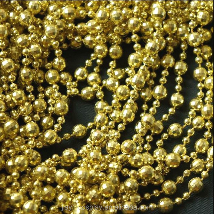Cheap price 33 inch mardi gras round gold necklace