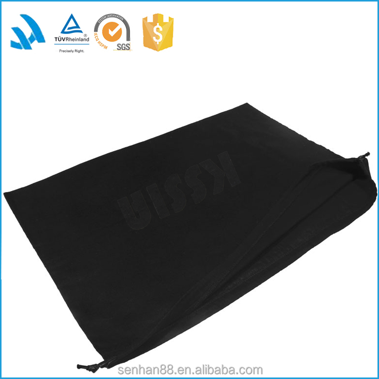 Promotional black cotton drawstring dust bag for handbag with custom logo