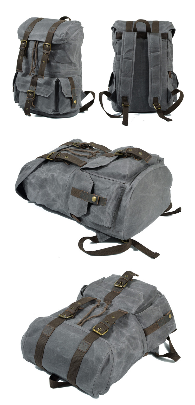 High quality vintage designer water resistant waxed canvas digital gear camera backpack bags