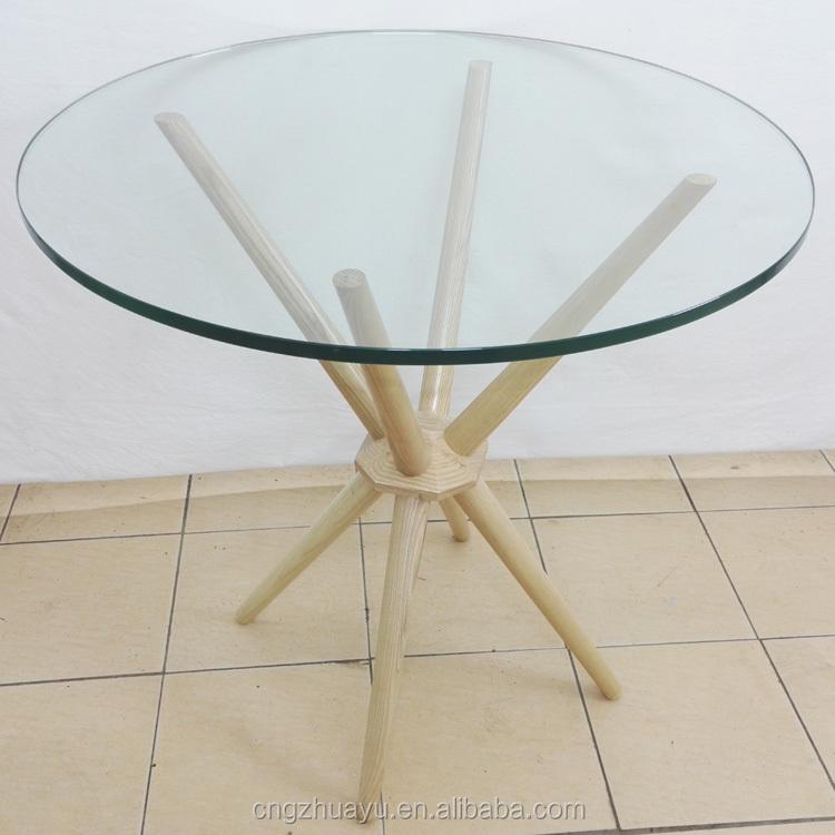 cruz caf mesa con base de madera con tapa de cristal