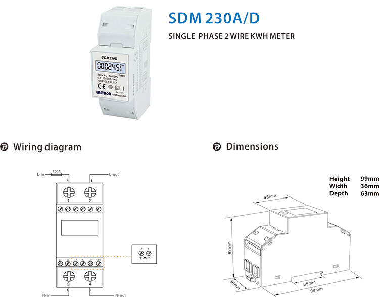 SDM230Mbus Digital Display Single 상 Dual 관세를 M-bus Energy Meter