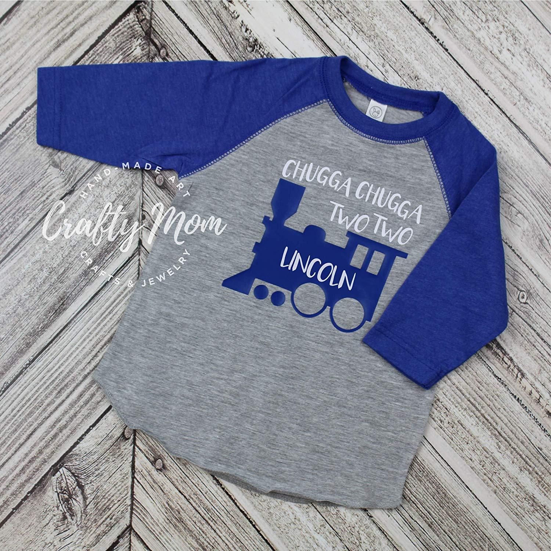 Get Quotations Chugga Two Train Toddler Boys Birthday Shirt Raglan Baseball Tee