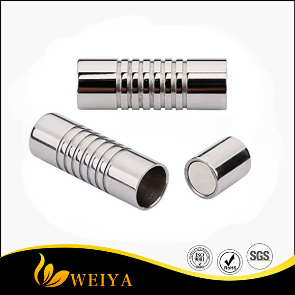 316 Stainless Steel Hole Size 4mm Magnetic Clasp Magnetic Closure Cylinder Shell for Leather Bracelet