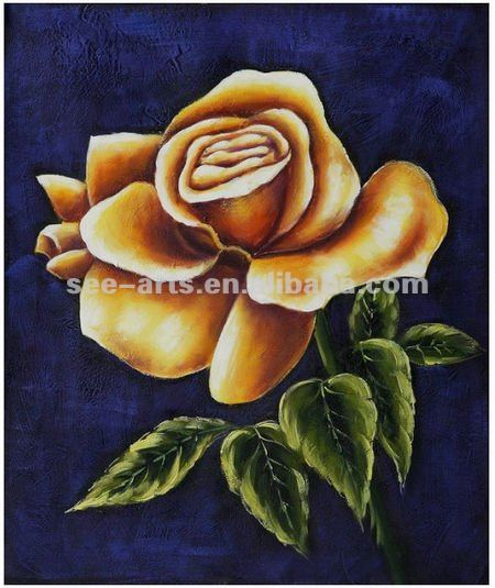 Single golden rose flower abstract Oil Painting