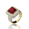 18K Gold 925 Sterling Silver Genuine Red Ruby Ring