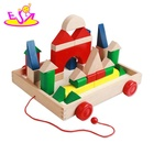 Best sale classic kids wooden toy blocks with pull wagon W13C036