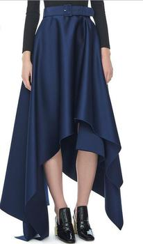 a2ad66c0b7 Runwaylover EY2138D soft satin used short front long back navy women open front  skirt