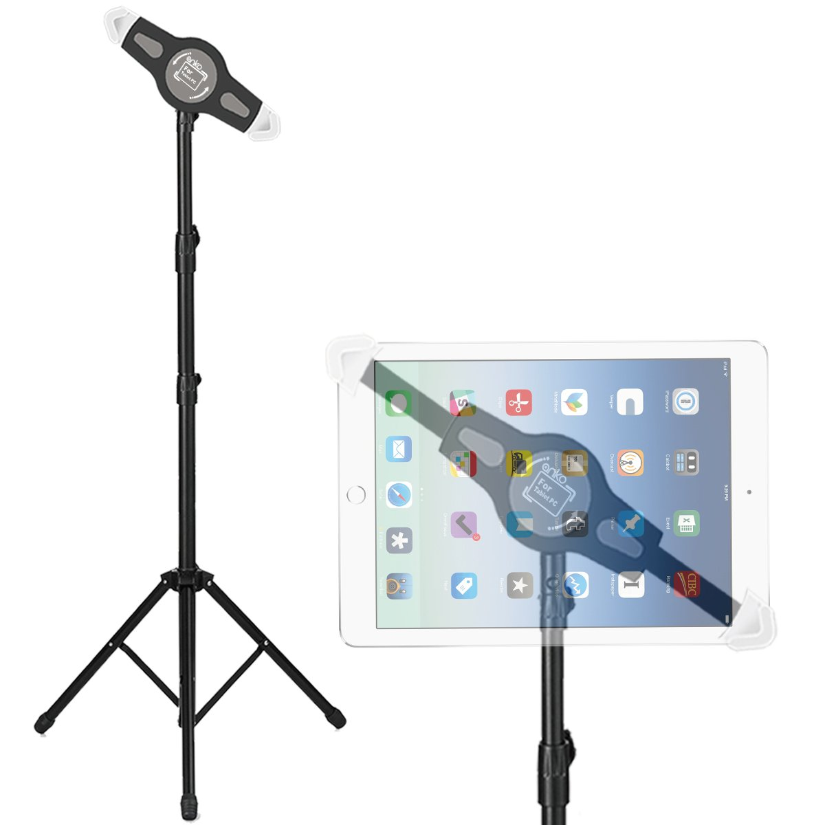 """Foldable Floor Tablet Tripod Stand Mount, ANKO iPad and Tablet Floor Height Adjustable 360 Rotating Stand for iPad Mini, iPad Air, iPad 1,2,3,4, Samsung Galaxy and All 7"""" to 12"""" Tablets(BLACK)"""