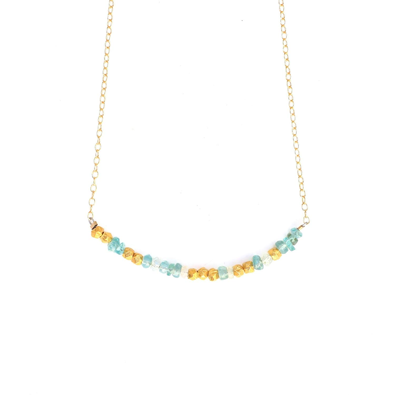 "Morse Code ""LOVE"" Necklace in AQUAMARINE"