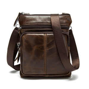 Hot Selling Vertical Business Section Genuine Leather Men Shoulder Messenger Bag