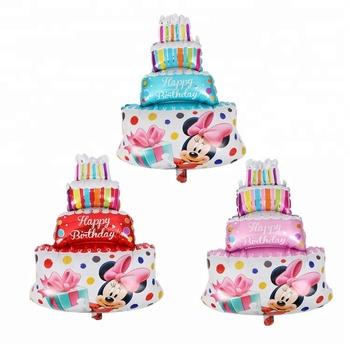 Birthday Kids Gift Big Size Foil Helium Cake Shaped Mickey Mini