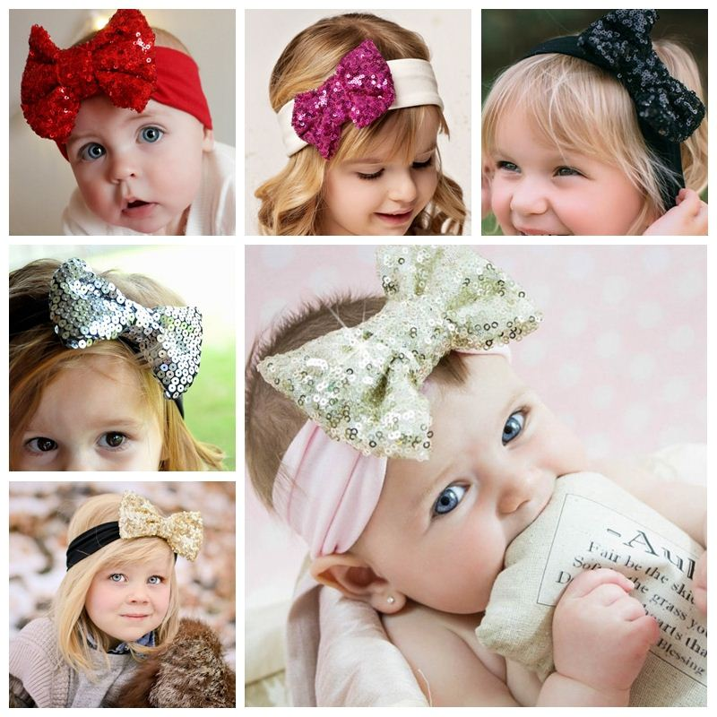 New Lovely Baby Headbands Boutique Sequin Bow With Cotton Hair bands Girl Headbands  Baby Hair Accessories 6ea6e60bd1d