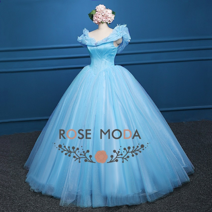 Rose Moda Blue Cinderella Prom Dress Movie Cosplay Costume