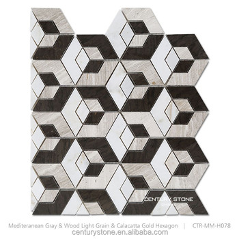 Black And White Hexagon Shape Marble Mosaic Natural Stone Wall Floor Tile
