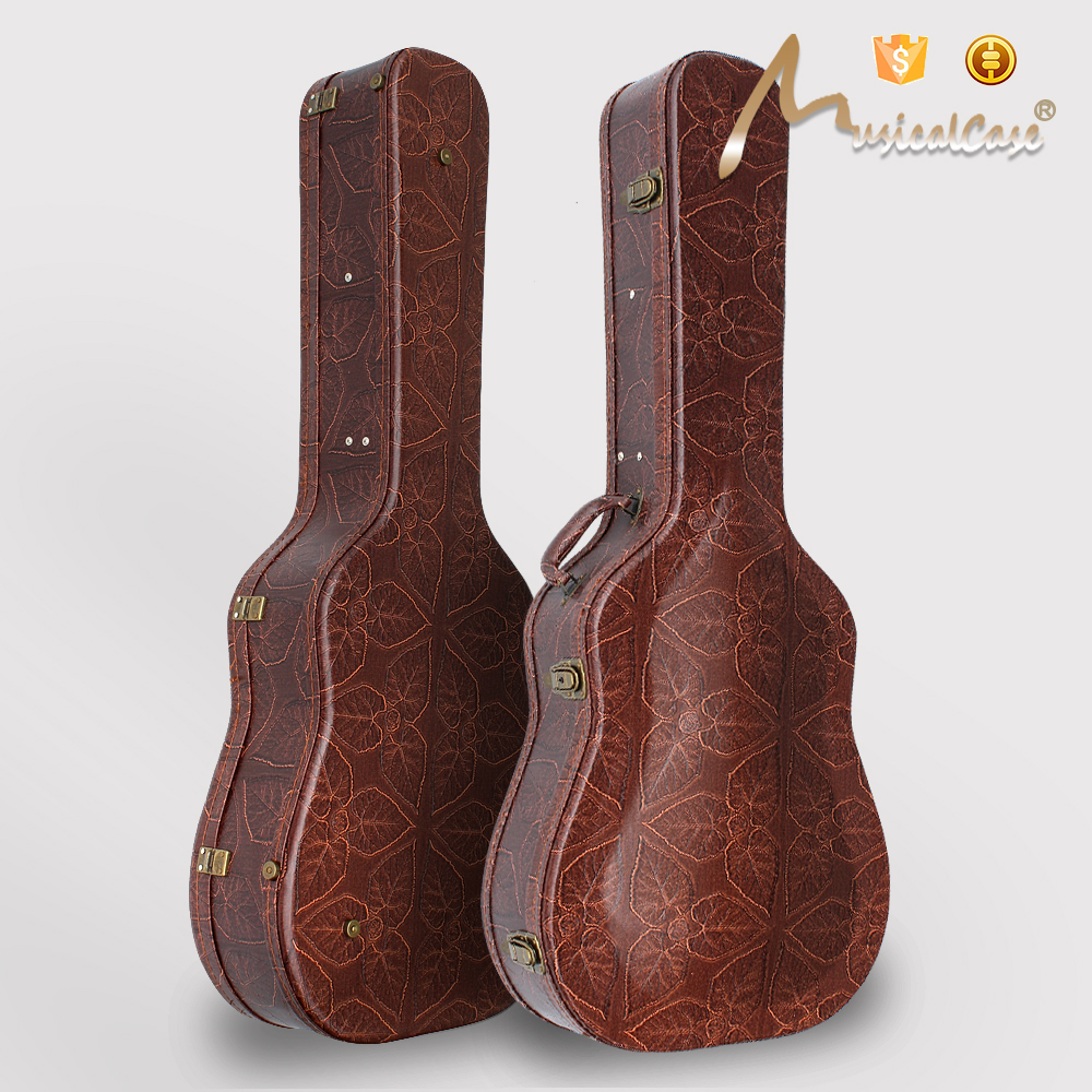 9c7812765e Aged style Leaf Pattern Acoustic Guitar Hardshell Case Fits Most Acoustic  Guitars with Key Lock,Brown