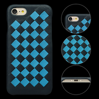 Two color combain weave genuine leather mobile phone case for iPhone 8