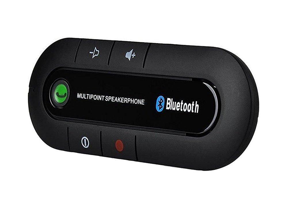 In-car Bluetooth Speakerphone, SUFUM Wireless Hands Free Car Kit Bluetooth Sun Visor, Portable Bluetooth Multipoint Speakerphone, Black
